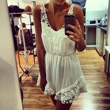 Fashion Fall Women's Sleeveless Jumpsuits Rompers White Lace Floral NYE Clubbing School Party Casual Dress = 1945675076