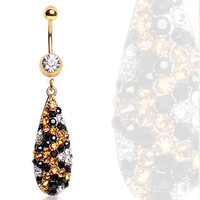Gold Plated Water Drop Shaped Navel Ring with Leopard Print CZs