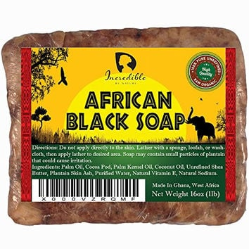 #1 Best Quality African Black Soap - 1lb (16oz) Raw Organic Soap for Acne, Dry Skin, Rashes, Scar Removal, Face & Body Wash, Authentic Beauty Bar From Ghana West Africa Incredible By Nature