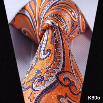 Orange Paisley Tie with Black and Grey Accents