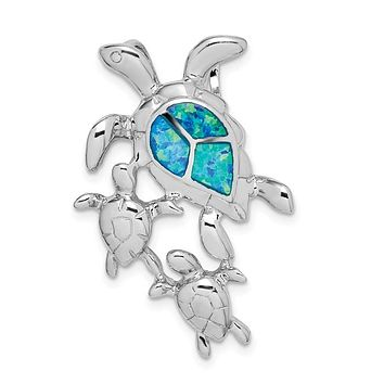 Sterling Silver Created Blue Opal Sea Turtle Mom with Babies Slide Pendant