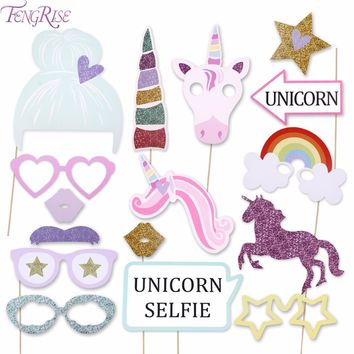 FENGRISE Unicorn Party Decorations Glitter Unicorn Photo Booth Props Happy Birthday Boy Girl Baby Shower Wedding Decorations