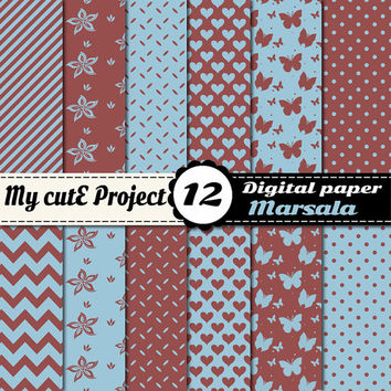 Marsala and Aquamarine - Digital paper  - Scrapbooking & graphic design - 12x12 - A4 - Polka dots, heart, chevron, flower, butterfly