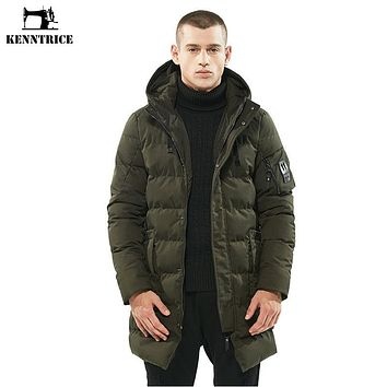 KENNTRICE Mens Winter Parka With Hood Quilted Men Jacket Windbreaker Jackets Men Long Thick Padded Coat Warm Parka Jacket Male