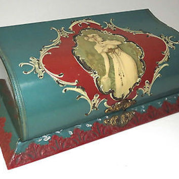 1930's Celluloid Casket Box Victorian Lady Red Green Antique Silk Lined in RED