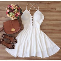 Vestidos 2015 New Arrive Summer Dress Beach Style Women Dress Plus Size Vestido De Festa Casual Bandage White Vestidos