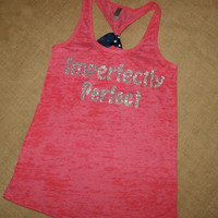 Imperfectly Perfect. Glitter Writing. Bow. Tank. Racerback. Size S-2XL. Burnout. Black. Exercise. Soft. Women. Workout. Fitness.