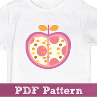 Apple applique pattern - retro fruit template sewing PDF