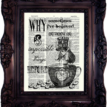 Alice in wonderland Decoration Alice in Wonderland Art Print Alice in Wonderland Party Tea Time Alice in Wonderland print on book page C:635