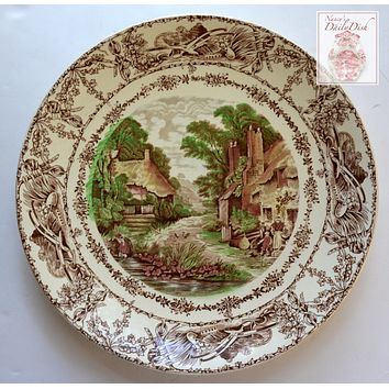 Brown Handpainted Transferware Platter Charger Tray Rural Scenes Thatched Cottage Mother Children Bee Skep
