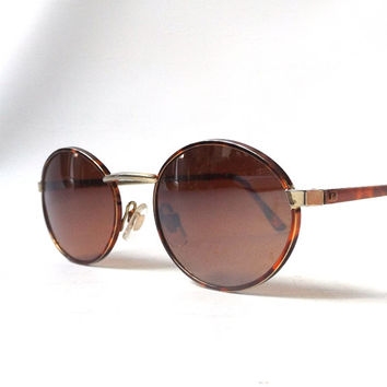 vintage 1990's round sunglasses tortoise shell brown metal frames brown lenses sun glasses eyeglasses eyewear accessories accessory modern