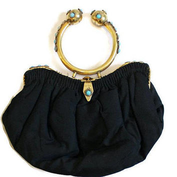 Black Evening Bag With Ornate Brass Handle Decorated With Faux Turquoise Cabochons