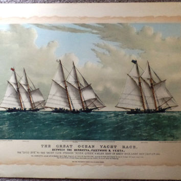 """Currier & Ives Print -  """"THE GREAT OCEAN YACHT RACE""""  - Large lLithograph  - c1980"""