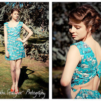 Festival style New Spring Summer 2012 Cut out backless summer dress City print Vintage inspired