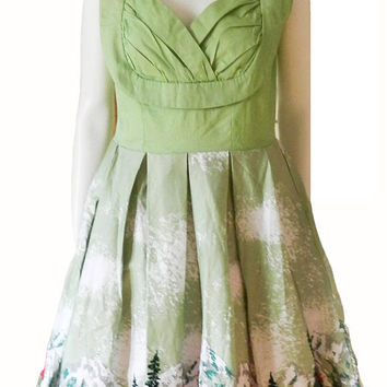 Women's Green 1950s 60s Style Rockabilly Holiday Dress, Vintage Swing Evening Party Novelty Dress. Size L/XL