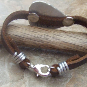 Mens Leather Bracelet - Personalized Guitar Pick - Fathers Husbands Boyfriends Sons - Monogram Names
