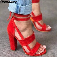 TINGHON Summer Women Flock Sandals Bandage Cross Strap Lace UP High Heels 10CM PU Sandals Fashion Pump  Shoes