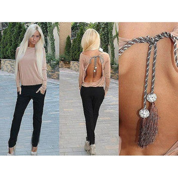 Fashion Casual Backless Shirts Chiffon Blouses