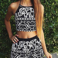 Summer Women Tank Crop Top Halterneck Elephant Print & shorts Casual Party Beach Vest