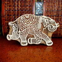 Running Elephant Stamp: Hand Carved Wood Stamp, Printing Block, Ceramic Textile Pottery Stamp, India