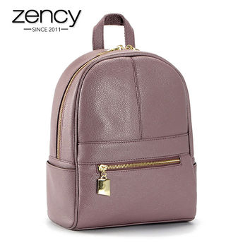 4Cls Classic Fashion Genuine Leather Backpack Women Bags Preppy Style Knapsack Girls School Book Zipper Shoulder Women Back Pack