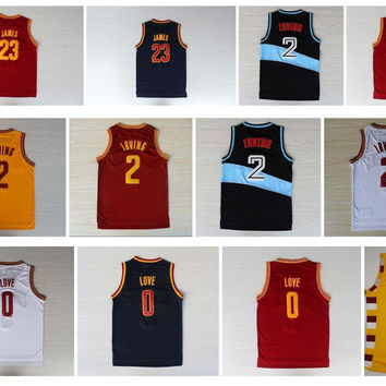 Lowest Price ! Retro Shirt 0 Kevin Love 2 Kyrie Irving Jersey 23 LeBron James 5 Jr Smith Blue White Red Yellow Throwback Basketball Jersey