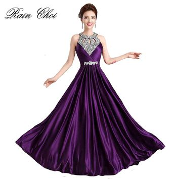 Long Purple Prom Dresses 2017 Sexy Halter Women Elegant Floor-length Formal Wedding Party Bridesmaid Prom Gown