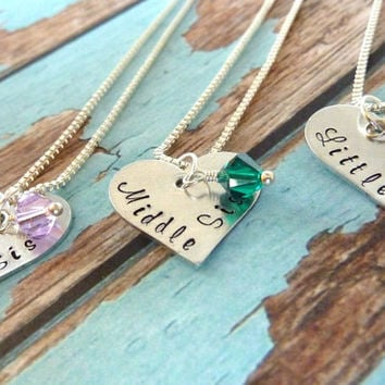 Big Sister Middle Sister Little Sister Necklace Set Sister Jewelry Personalized Jewelry Necklace for Sisters