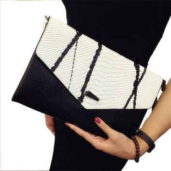 2018 Fashion Women Messenger Bags Lady Envelope Bag Clutches With Chains Leather Clutch Purse Free Shipping
