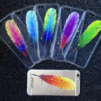 Colorful Feather Transparent Iphone 6 plus 6s Cases