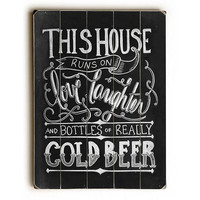 Cold Beer by Artist Robin Frost Wood Sign