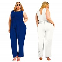 Women Plus Size Jumpsuits Sleeveless O neck Hollow out Solid color Elastic Waist Long