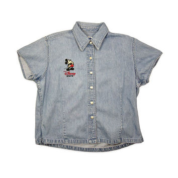Women's Large Denim Vintage Shirt / Mickey Mouse Disney Store