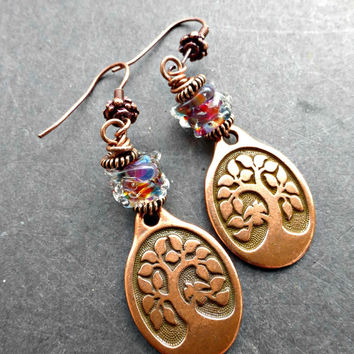 Rainbow lamp work glass, copper tree of life charm earrings. yoga, bohemian jewelry.