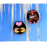 """Pac-Man Loves Ms. Pac-Man and Game Over Button Set - 1.5"""" Original 8bit Photographs - Pac Man Fever 2 Pin Back Buttons or Magnets"""
