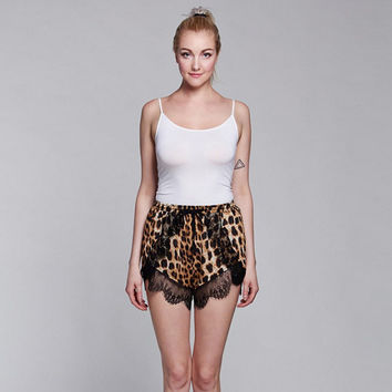 Fashion Beach Pants Lace Mosaic Leopard Women's Fashion Shorts [6048518721]