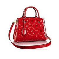 LV Women Shopping Leather Tote Handbag Shoulder Bag Authentic Louis Vuitton Montaigne