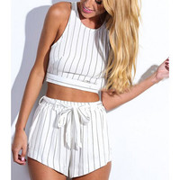 Black and White Striped Crop Top and Drawstring Shorts