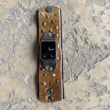 The Little Rocker Watch Cuff in Tan Hide w/ Decorative Studs