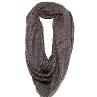 Paula Bianco Frayed Infinity Scarf in Charcoal