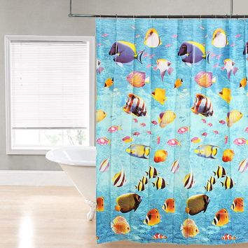 NEW Waterproof Shower Curtain Bathroom Products 3D Sea World Fish Bath CurtainWith 12 Hooks 180*180cm