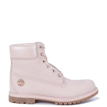 Timberland 6 Inch Premium Waterproof Icon Boots in Light Pink Nubuck With Metallic Collar