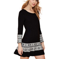 Black Snowflake Print Long Sleeve A-line Knitted Dress
