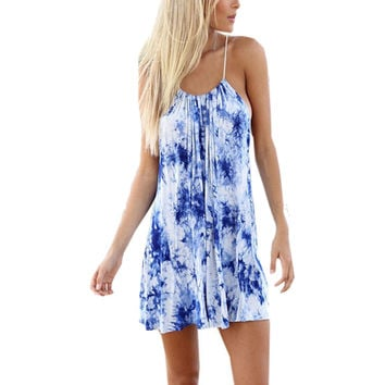 Plus Size S-3XL 2016 Women Summer Beach Floral Dress Strap Off the Shoulder Sleeveless Loose Short Dresses Sexy Party Vestidos