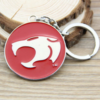 Anime Cartoon Thundercats Figure Toy Round Keychain Metal Key Chain Pendant Keyring Key Ring For Man's Boys 80's