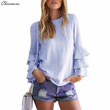 Chesmono autumn 2017 Layered Long Flare Sleeve Elegant Blouses for women o neck casual plu size tops chiffon shirts blusas 5XL