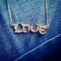 Love Necklace pendant Gold Love Necklace, Love Script Necklace, Writing Love Necklace, Letter Love Necklace, Wedding, Bridesmaid Gift
