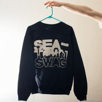 """Sea-Town Swag"" Crewneck (Black)"