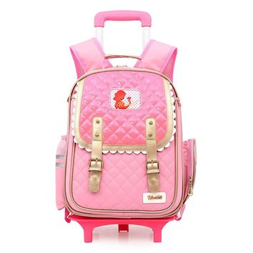 2017 Factory Outlet Girls princess Bow 3D School Bags with Wheels Boys School Backpack Trolley Bag Children Travel School Bags