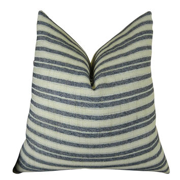 Plutus Stone Manor Indigo Handmade Throw Pillow
